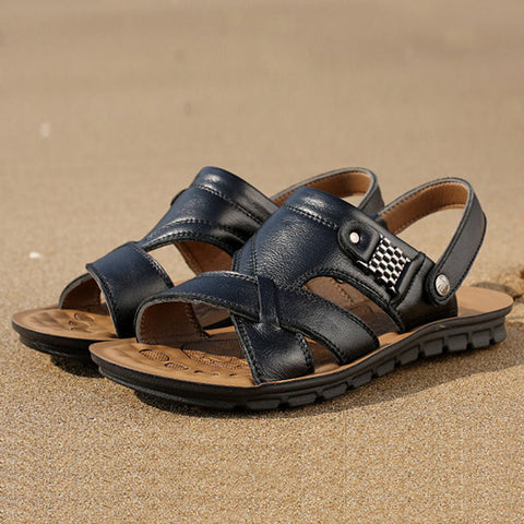 Big Size Men Leather Pure Color Hollow Out Slip On Flat Beach Sandals