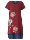 Women Short Sleeve Floral Printed Fake Two Pieces Vintage Dress