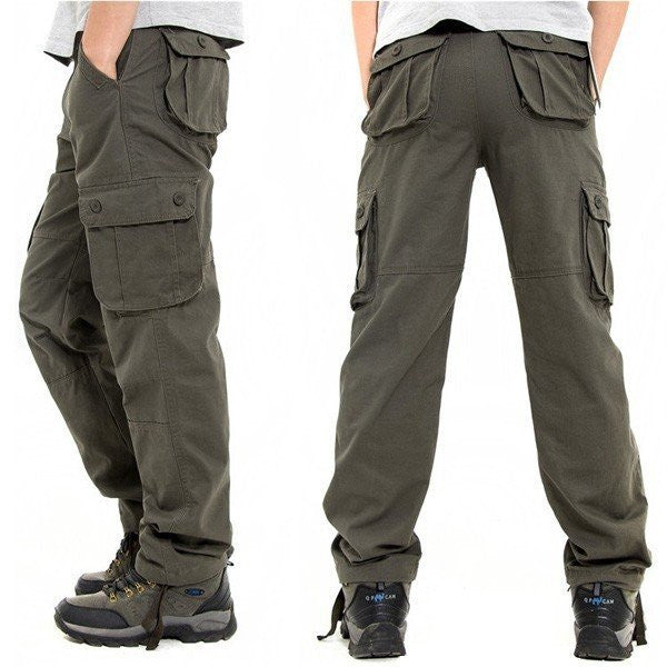 Men's Plus Size Loose Casual Overalls Outdoor Sports Multi pockets Cargo Pants