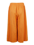 Loose Elastic Waist Drawstring Pure Color Wide Leg Pants For Women