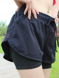 Women Breathable Pretend Two-pieces Sports Shorts Elastic Yoga Running Short Pants