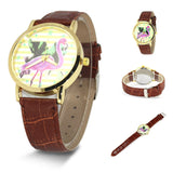 Simple Red-crowned Crane PU Leather Watch
