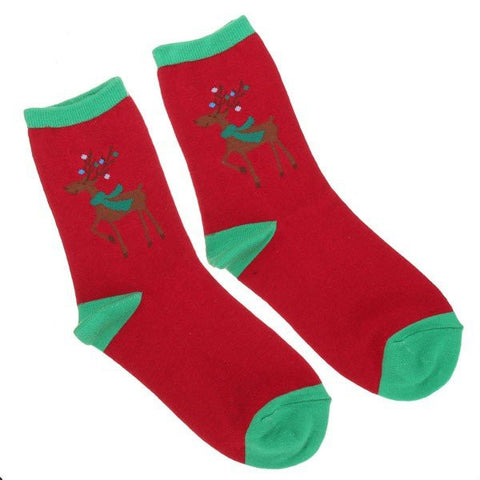 Christmas Socks Cotton Santa Claus Deer Pattern Cartoon Hosiery Gift Stockings