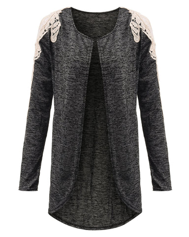 Long Sleeve Open Cape Patchwork Cardigan