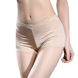 Women Sexy Satin Lace Hem Boyshorts Thin Mid Waist Underwear
