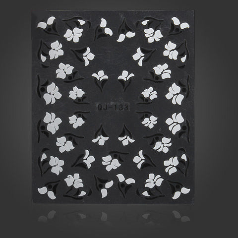 3D Black White Flower Nail Art Sticker Water Transfer Decals