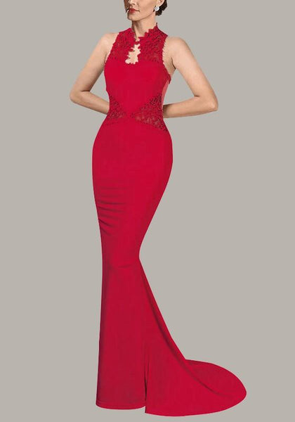 Red Love Grenadine Lace Bodycon Banquet Mermaid Elegant Banquet Party Wedding Maxi Dress