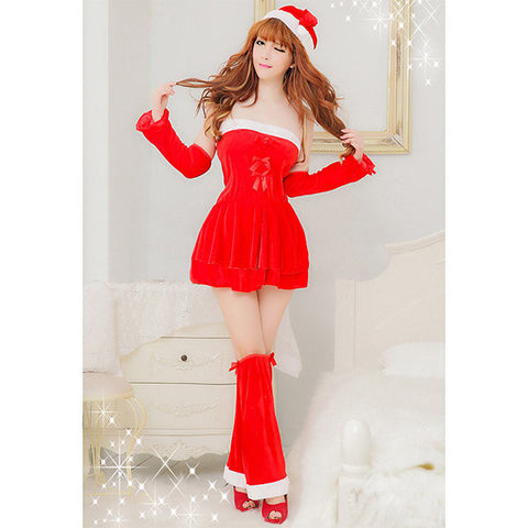 Christmas Sexy Off Shoulder Mini Dress Cosplay Party Red Dress For Women