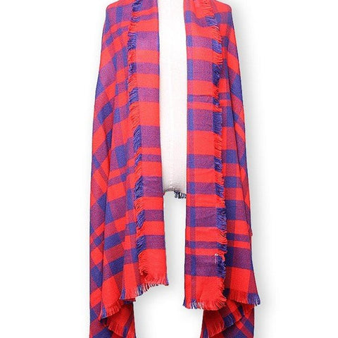 Autumn Winter Orange Blue Grid Thickening Warm Long Wool Scarf Shawl - shechoic.com
