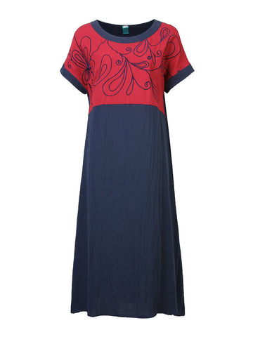 Chinese Style Embroidered Stitching Short-Sleeve Loose Dress For Women