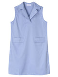 Women Sleeveless V Neck Pocket Pure Color Summer Dress