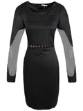 Mesh Patchwork Long Sleeve Bodycon Dress With Belt