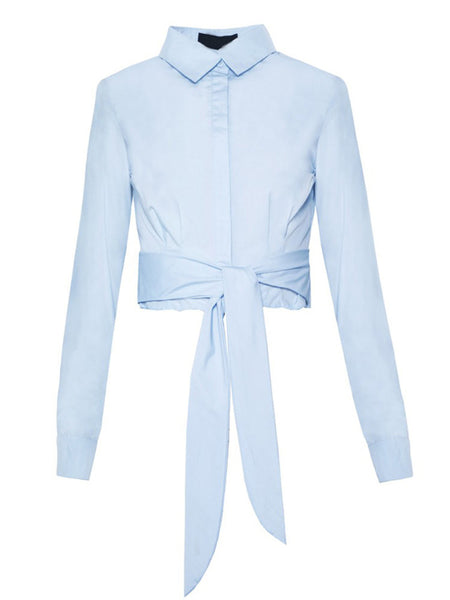 School Style Long Sleeve Lapel Big Bow Pure Color Blouse For Women