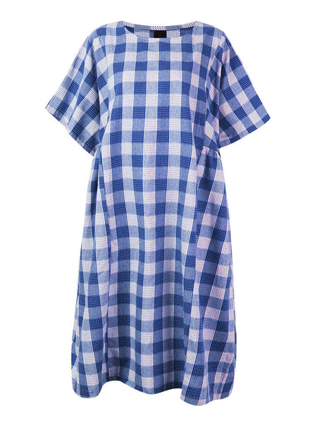 Casual Grid Plaid All-Match Short Sleeve Dress For Women