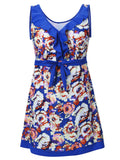 Plus Size Women Sexy Sleeveless One Piece Swimwear Floral Printing V Neck Dress Swimsuit