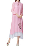 Vintage Women Stand Collar Printed Solid Linen Dress