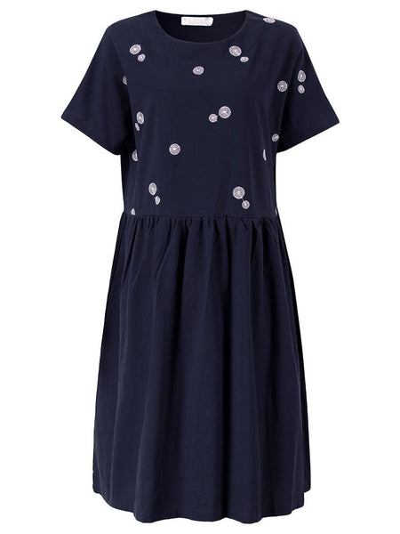 Vintage Short Sleeve Embroidery Pure Color Dress For Women