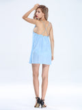 Women Strap Backless Chiffon Beach Mini Sundress Summer Beach Dress