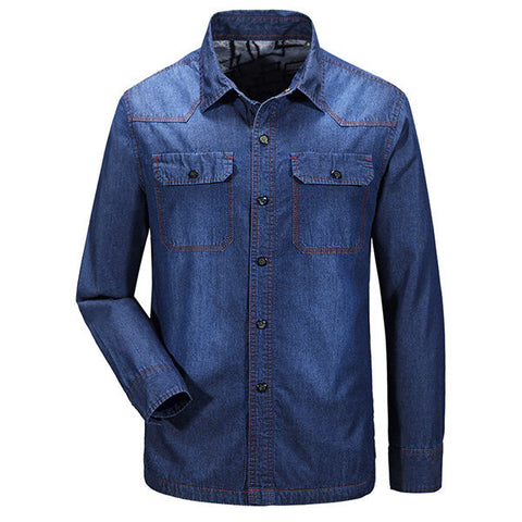 Casual Loose Cotton Cashmere Thick Denim Shirt Plus Size Long Sleeve Dress Shirt For Men