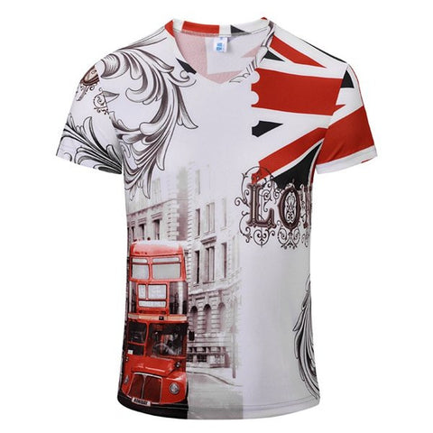 Casual Bus Flag Printing Vintage V-Neck T-Shirt Breathable Short Sleeved Tees For Men