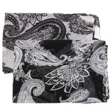 Ethnic Bohemian Style Black White Print Paisley Shawl Scaves Paisley Voile Scarf