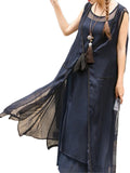 Vintage Patchwork Sheer Bow Split Long Jacket For Women