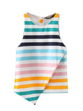 Women Stripe Sleeveless Irregular Hem Casual Tank Top
