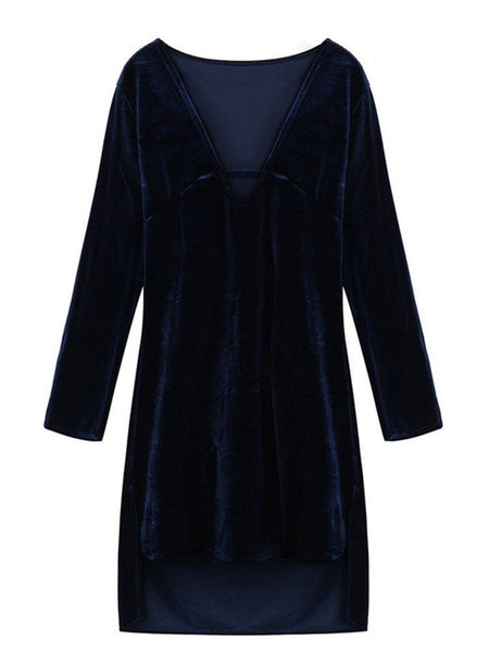 Women Long Sleeve Deep V Neck Pure Color Velvet Loose Dress