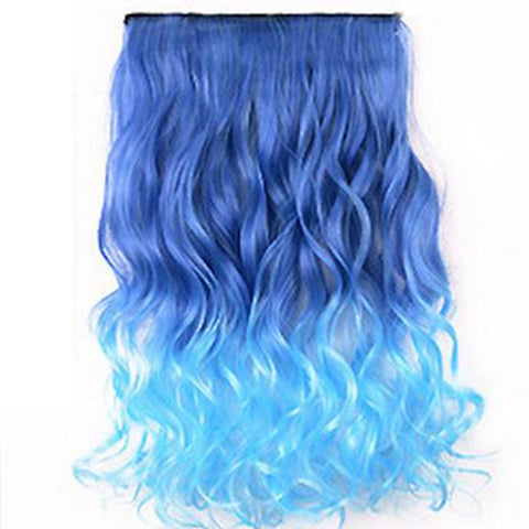 Full Head Clip In Gradient Synthetic Hair Extensions Women Straight Curl Piece