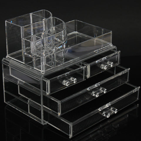4 Drawers Clear Acrylic Cosmetic Organizer Cream Lipstick Jewelry Storage Container