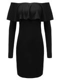 Sexy Women Ruffles Solid Off Shoulder Bodycon Pencil Dress