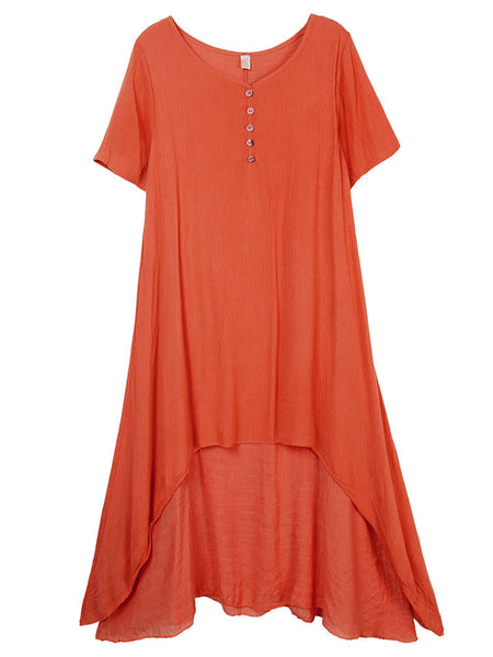 Loose Folk Style Solid False Two-piece Cotton Linen Dress