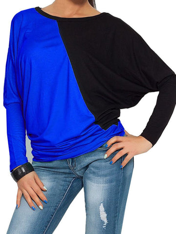 Casual Knitting Fabric Contrast Color Long Sleeve T-shirt
