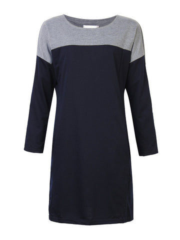 Women Long Sleeve O-neck Contrast Color Patchwork Dress