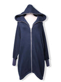 Loose Pure Long Sleeve Cotton Hooded Sweatshirt Cardigan