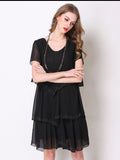 Casual Solid Bead Patchwork Ruffled Chiffon Dress For Women