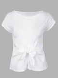 Chiffon Bow Tie Pure Color Stitching Short Sleeve T-Shirt For Women