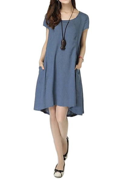 Casual Women Pocket Solid Color Linen Cotton Dress