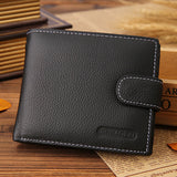 Men Genuine Leather Vintage Short Wallet Casual Cards Coins Holder Bags