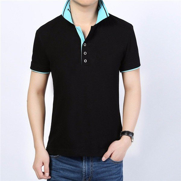 Men's Cool Summer Contrast Color Turn-down Collar Short-sleeved T-shirts