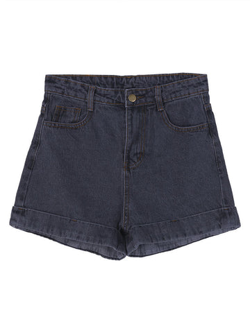 Women Casual High Waist Flanging Denim Shorts