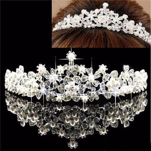 Bridal Flower Rhinestone Crystal Pearl Crown Tiara Prom Wedding Pageant Veil Headpiece