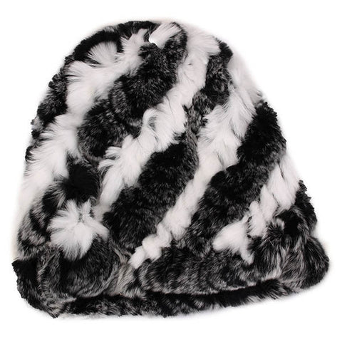 Female Rex Rabbit Fur Knitted Screw Hats Winter Warm Mix Colors Beanies Caps