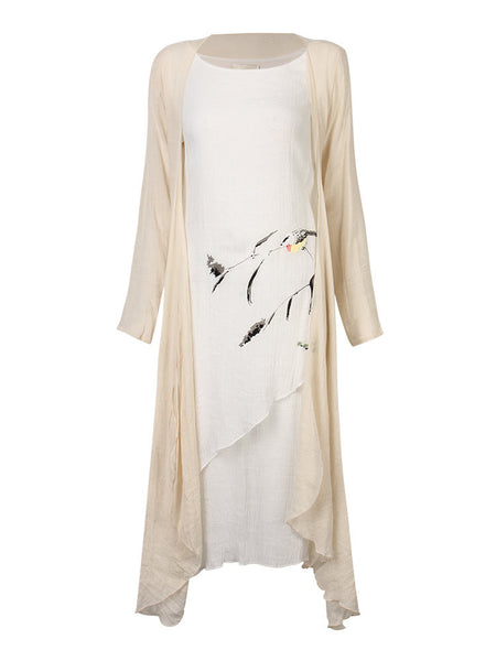 Vintage Printed Solid Linen Dress And Long Sleeve Cardigan Suit For Women