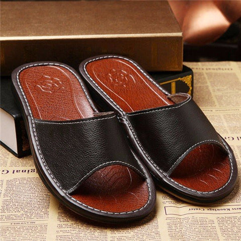Men Peep Toe Slip On Flat Casual Pu Home Beach Slippers