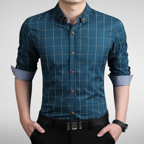 Men's Casual Business Plaid Prints Slim Fit Long Sleeve Cotton Dress Shirt