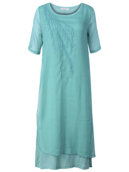 Women Short Sleeve O Neck Ethnic Embroidery Pure Color Vintage Dress
