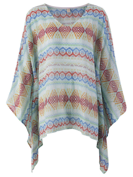 Women Half Batwing Sleeve Bohemian Printed V Neck Mini Dress