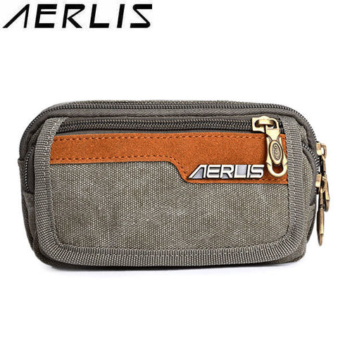 AERLIS Men Women Canvas 5.7 Inch Phone Bag Outdoor Sport Arm Bag Retro Waist Bag - shechoic.com