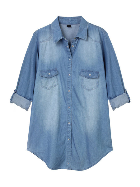 Casual Solid Button Pocket Denim Thin Shirt For Women
